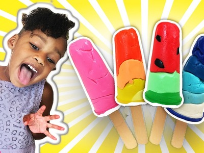 Play Doh Popsicles Treats DIY Ice Cream Ultimate Rainbow Popsicle How To |  Naiah and Elli Toys Show