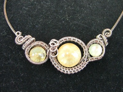 Wire Wrap Tutorial Sideways Pendant Necklace 3 Gemstone Beads