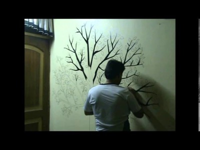 Awesome Speed Painting Wall Drawing of a Tree.