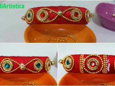 Beautiful Silk Thread Traditional Kada(Bangle) Making|Wedding Party Bangles(Bridal Beads Bangle)