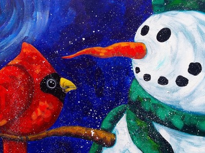 Beginners acrylic painting  | Snowman with Cardinal | The Art Sherpa paint along