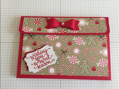 Flip pocket card and tag holder with Stampin' Up! Candy cane lane