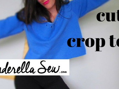 How to cut a sweater into crop top - Cut a crop sweater - Easy DIY Clothing Tutorial