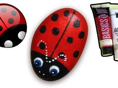 How to Paint Ladybug on Pebble.Rock | Boyaboya