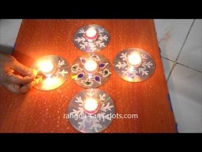 Innovative CD rangol with semolina, honey, kundan | Diwali diya decoration ideas |  easy CD  crafts