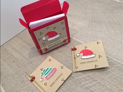 Jolly Friends 3 x 3 Card Gift Box, Fold Flat Box Video Tutorial using Stampin' Up products