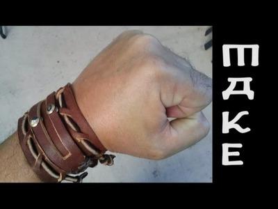 Men's leather bracelet. cuff. maker video