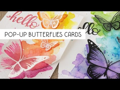Pop up butterflies cards using MISTI and Distress inks