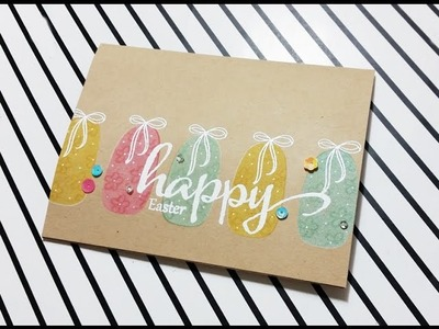 Stamping on Kraft Cardstock. Easter Card. Stretch your stamps