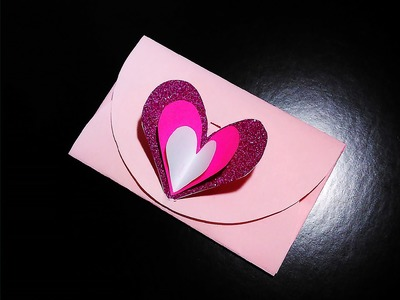 Easy heart envelope for Valentine's day or greeting card with lock. No templates!