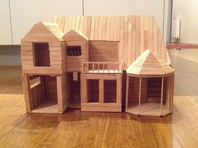 Icy pole.Popsicle stick house