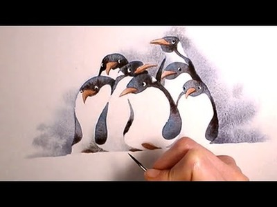 """Simple Watercolor Illustration """"penguins"""" painting Art by Iraville"""