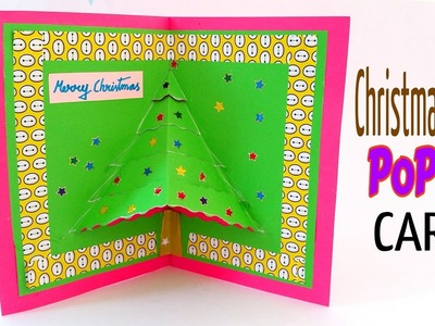 "Tutorial to make ""Christmas Tree POPUP CARD"" - DIY 