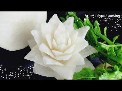 Art In White Radish Rose Flower   Vegetable Carving Garnish   Roses Garnish