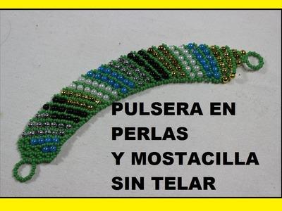 COMO HACER PULSERA EN MOSTACILLA Y PERLAS DE COLORES.HOW TO BRACELET IN COLOR AND PEARLS