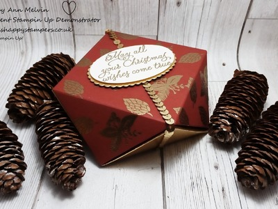 #10 Simple Sunday's, Beautiful heat embossed faceted gift box using Peace This Christmas