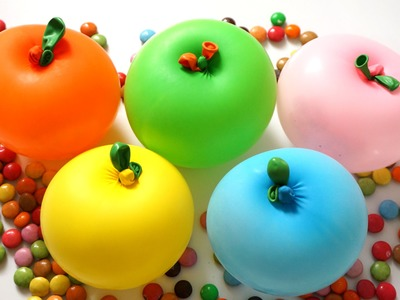 5 Apple M&M Color Balloons - Learn Colours Collection - TOP Finger Balloon Nursery Rhymes
