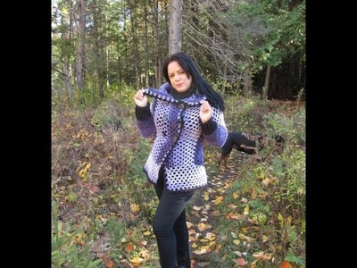 Crochet pentagon cardigan with Caron Cakes for beginners
