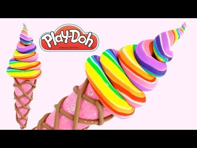 DIY How to Make Play Doh Rainbow Candy Ice Cream Modelling Clay * RainbowLearning