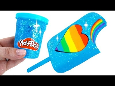 DIY How to Make Play Doh Sparkle Heart Popsicle Modelling Clay Learn Colors * RainbowLearning