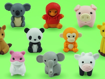 Foam Clay Ice Cream Surprise Toy and Learn Animal Names with Cute Eraser Toys Toddler Learnig Video