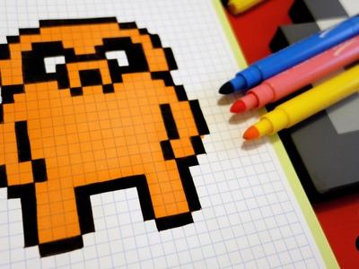 Handmade Pixel Art - How To Draw Jake the Dog #pixelart