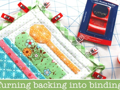 How to use Backing Fabric as your Binding on Quilts - Farm Girl Vintage Potholders