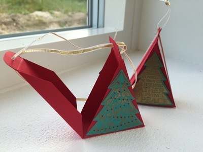 Triangular Christmas Tree Treat Box - Handmade using Peaceful Pines by Stampin' Up