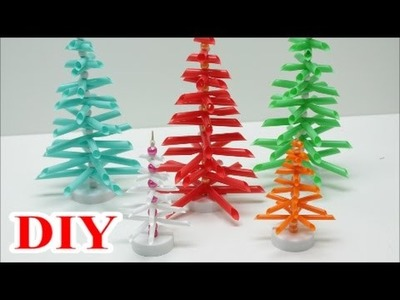 Best out of Waste Craft Ideas: DIY Drinking Straws Christmas Tree - Recycled Bottles Crafts