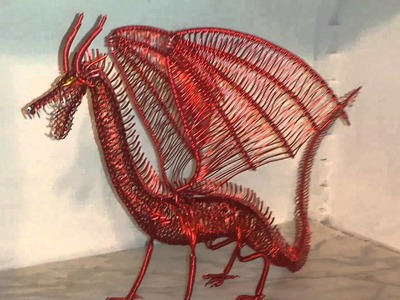 Hand made wire dragon, dragon de alambre hecho a mano