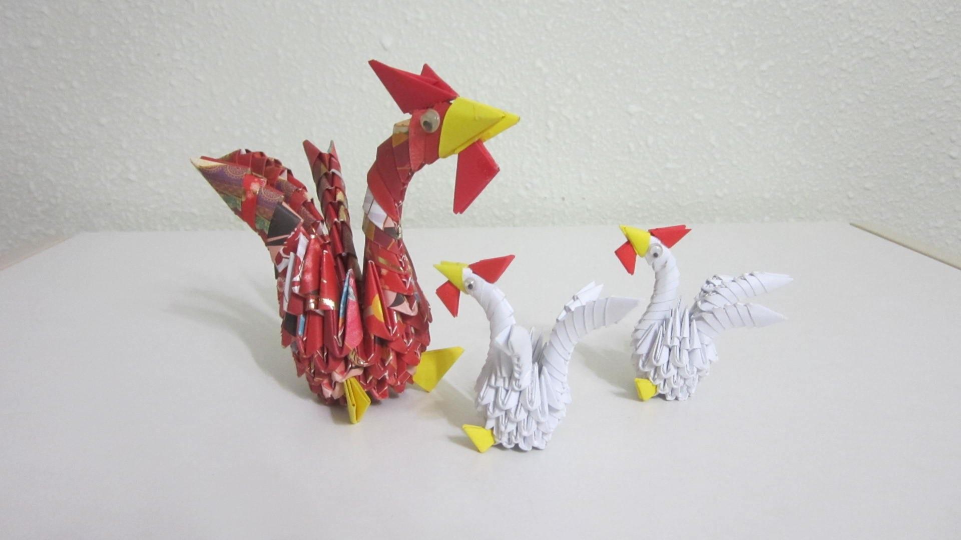 Как сделать из модульного оригами петуха