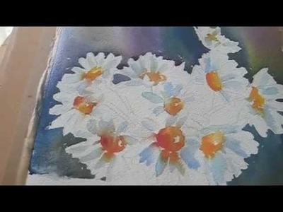 White Daisies Demonstration Step by Step Watercolour Painting Top Tips