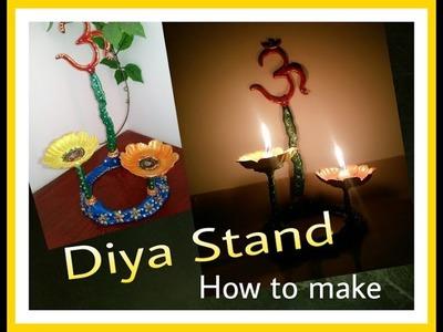 Decorative Spritiual Diya Stand Tutorial. How to make. M seal craft. Tea light candle Diya