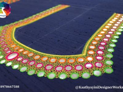 """Making of Mirror Work Designer Blouse at """"Kaathyayini"""""""