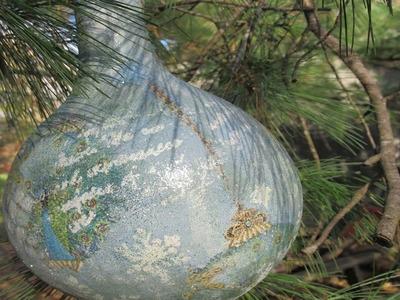 DIY Mixed Media Gourd Christmas Decoupage