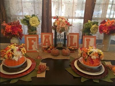DOLLAR TREE Fall Floral Pumpkins & Tablescape Set Up   2016