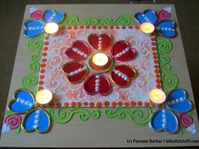Easy rangoli design using canvas and heart shaped bangles | Rangoli by Poonam Borkar