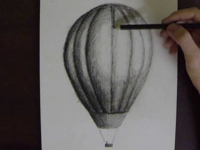 Hot Air Balloon in Charcoal on Paper - Time Lapse
