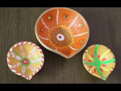 How To Decorate Your Basic Diyas:Learn Beautiful n Cute Diya Coloring