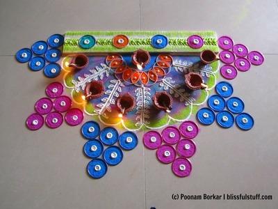 Rangoli using bangles | Innovative bangles rangoli design for diwali | Rangoli by Poonam Borkar