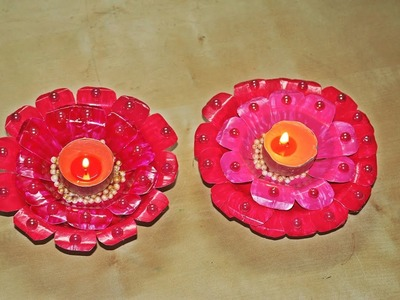 Recycled DIY: Diya.Candle Decoration made of Paper Plates.Diwali Decoration.Christmas Decor