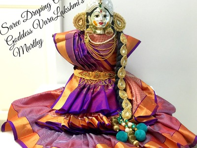 Saree Drapping for Goddess VaraMahaLakshmi's Idol. VaraLakshmi Vratham idol Preparation part 1