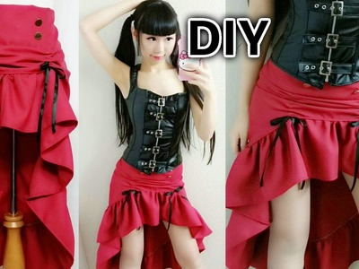 DIY Easy Steampunk Inspired Outfit | DIY Low High Ruffle Steampunk Skirt
