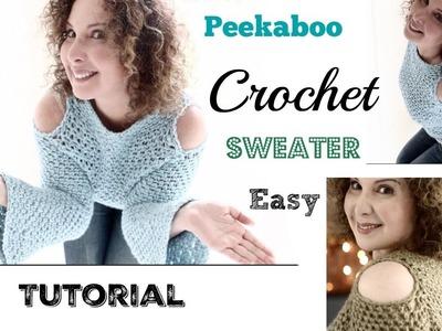 Easy Peekaboo Crochet Sweater Tutorial