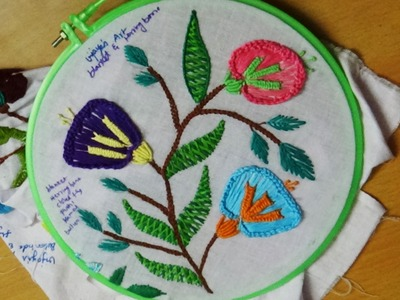 Hand Embroidery Designs # 139 - blanket & herringbone stitch design