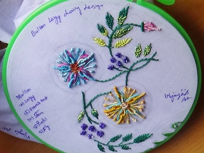 Hand Embroidery Designs # 111-Bullion Lazy Daisy Design