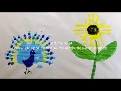 How to make a Peacock and sunflower handprint art