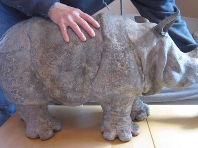 Air-Dry Clay Rhino with Iron Coating and Patinas