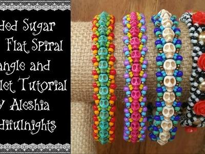Beaded Sugar Skull Flat Spiral Bangle and Bracelet Tutorial