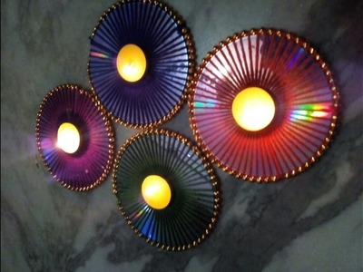 Diwali decor idea using old CD. Multipurpose decor.Recycled craft.English subtitles